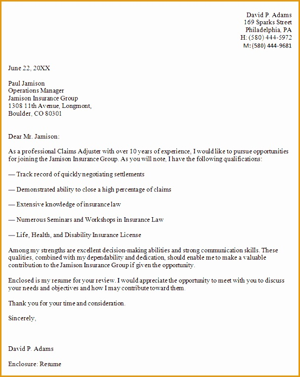 Adjuster Cover Examples Claims Letter