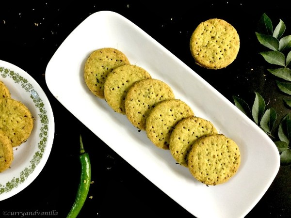 Healthy Khara Biscuits Indian Spiced Savory Cookies Curry And Vanilla
