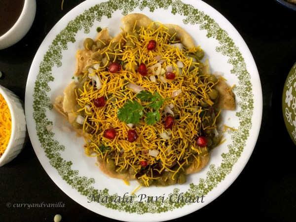 Masala puri chaat south indian style curry and vanilla masala puri chaat is a tangy and spicy mouth watering chaat a lip smacking indian street food crispy papdis fried flour discs are topped with a spicy forumfinder Image collections