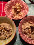 Payasam, zilvervliesrijst, melk, kardemom, palmsuiker , cashewnoten, rozijnen, geraspte kokos