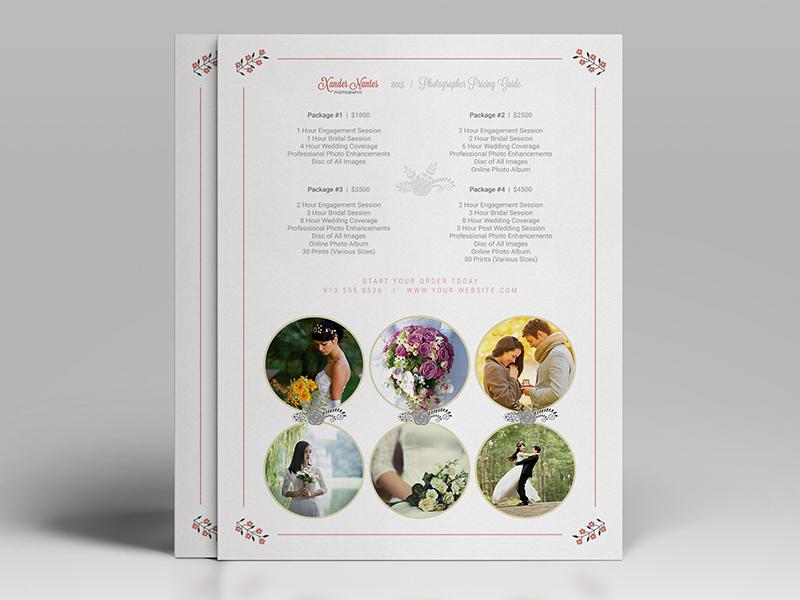 Wedding Photographer Pricing Guide Price Sheet List 5x7 Cursive Q