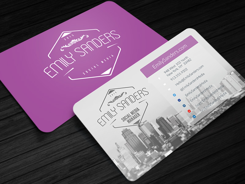 Social Box Social Media Business Card Photoshop Template Cursive Q