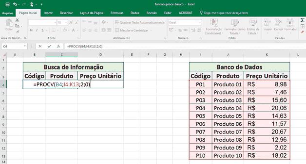 Função Procv: retorno o nome do produto