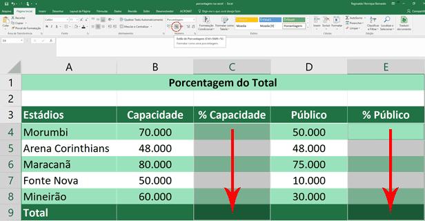 Porcentagem do Total - Formatação