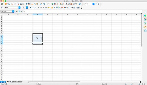 Movendo/Preenchendo células no OpenOffice Calc