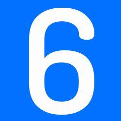 número 6 azul