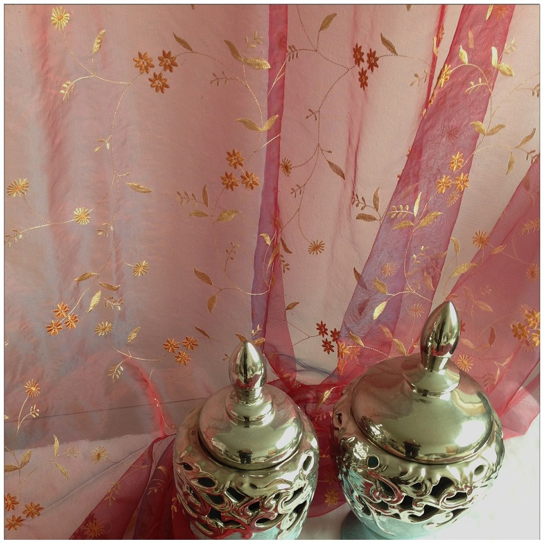 Floral Gold Embroidered Organza Sheer Curtains Amp Panels