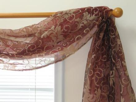 Production Gallery Floral Flocking Sheer 6 yard Scarf Valance  Item   SF421 68 43
