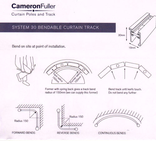 cameron fuller system 30 bendable curtain track former