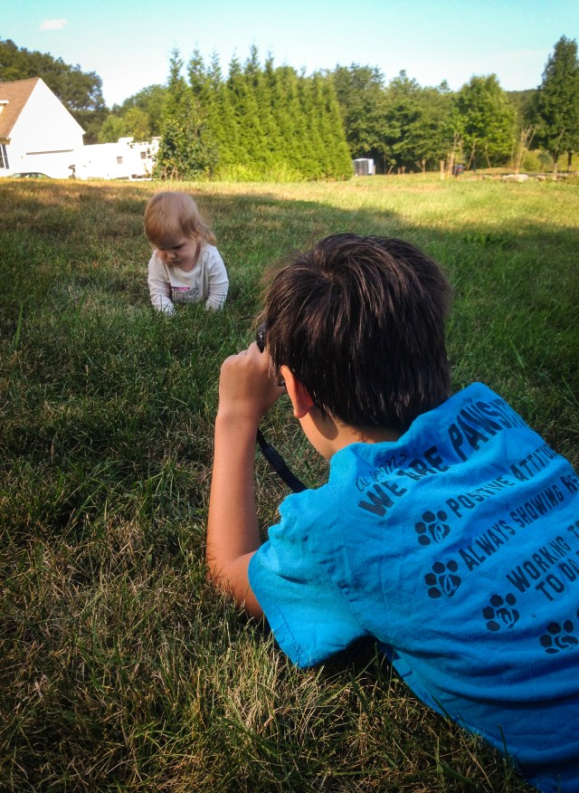 Ben taking a picture of Isabella last weekend.