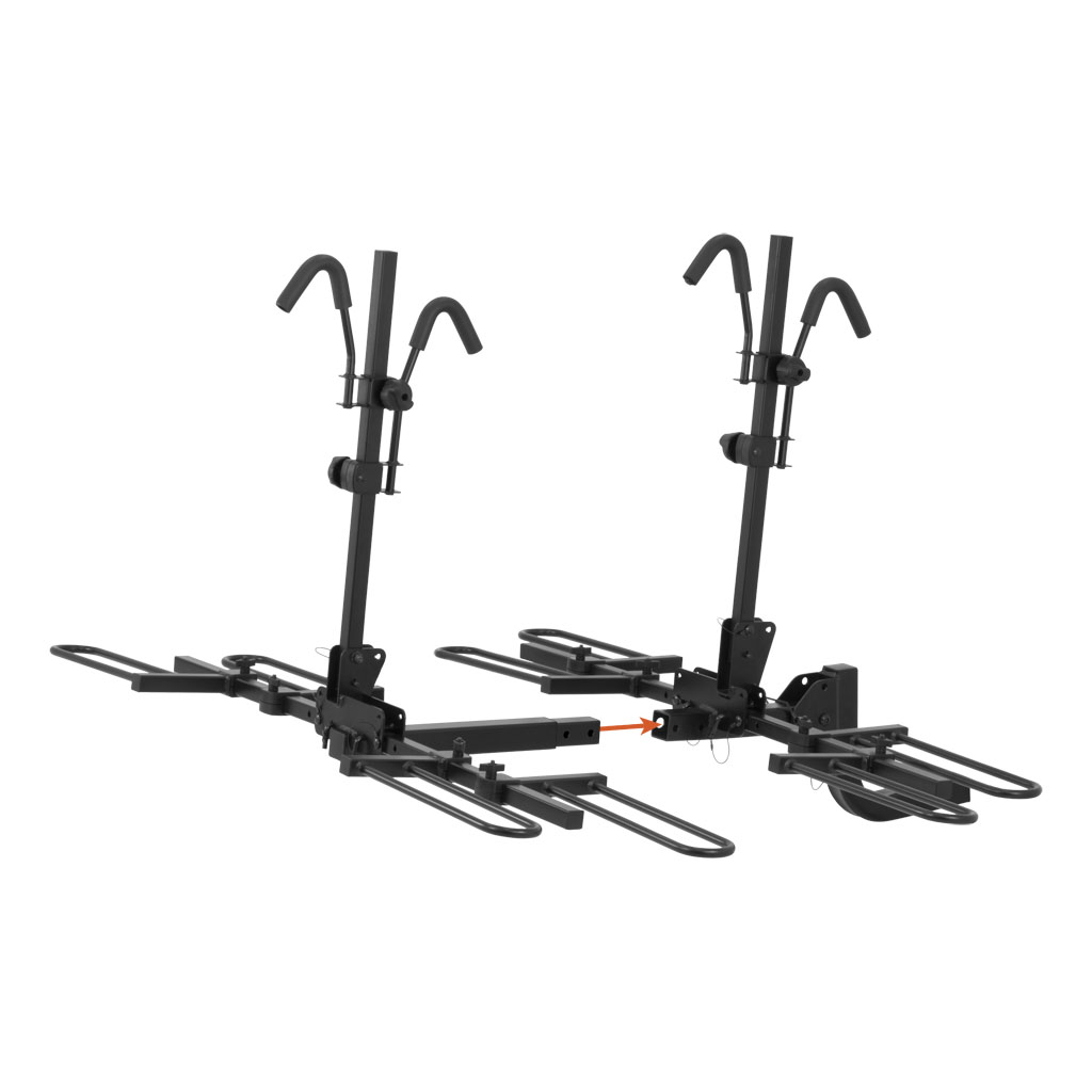 Curt Trailer Hitch Mounted Tray Style Bike Rack Holds 4