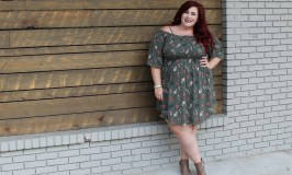 Plus Size Floral Cold Shoulder Smocked Dress