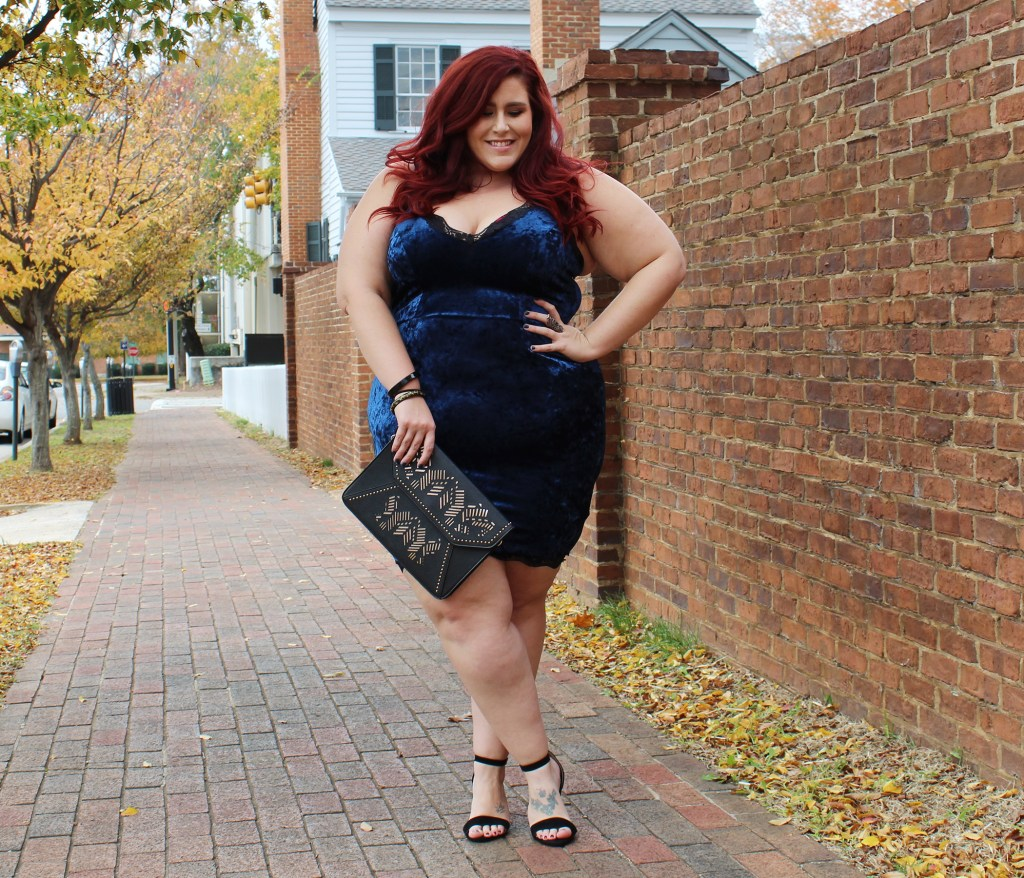 Plus Size Crushed Velvet Dress