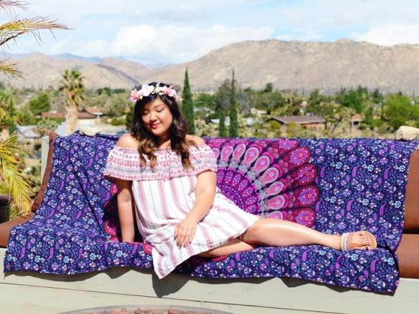 0a63d92683d2b Curvy Girl Chic Plus Size Fashion Blog Coachella Festival Fashion Lookbook  Off Shoulder Dress