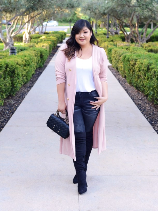 0a3649e6245 Curvy Girl Chic Boohoo Plus Pink Duster Jacket OTK Boots