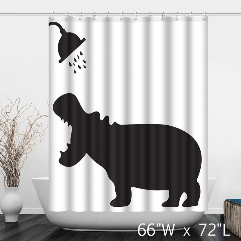 Funny Hippo Take Shower Bathroom Shower Curtain Custom Shower Curtain Store
