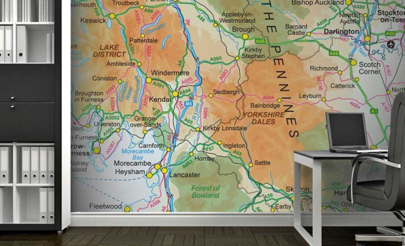 Custom Printed Ordnance Survey 1 1 Million Wallpaper Map UK Wallpaper Map   Ordnance Survey 1 1000 000