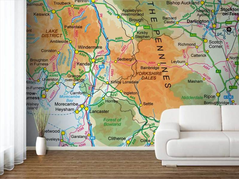 Custom Printed Ordnance Survey 1 1 Million Wallpaper Map OS Great Britain 1 1 Million Wallpaper Map