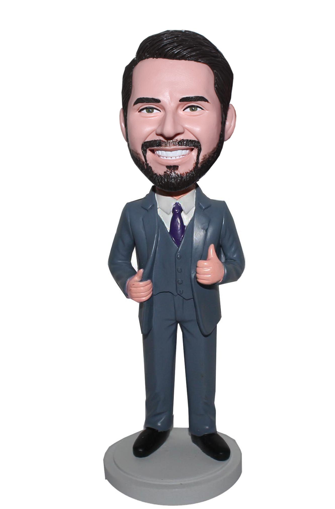 Personalized Gray Suit Bobble Head Groomsmen Doll