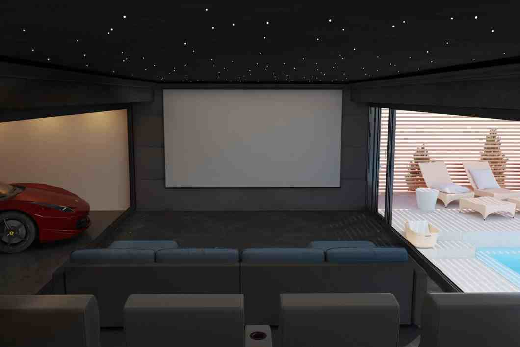 Garden Home Cinema Room in Day to Day Mode