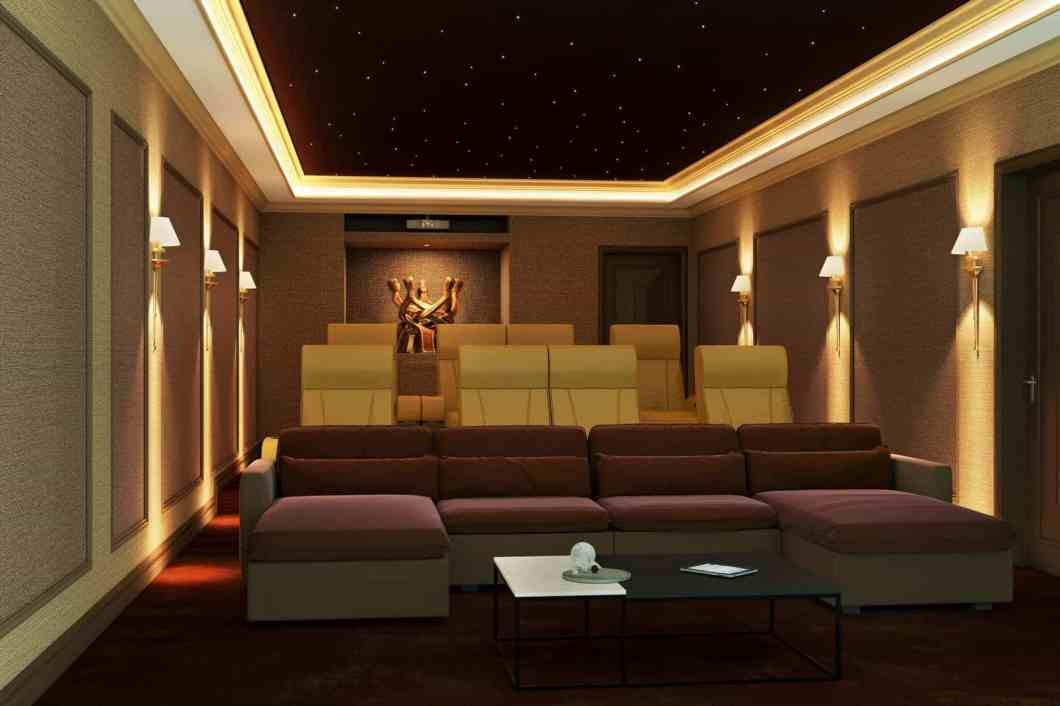 Home Cinema Seating - Cloth front row with leather behind
