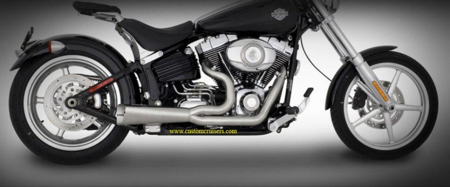 harley davidson softail rocker 08 up vance and hines competition series exhaust 2 into 1