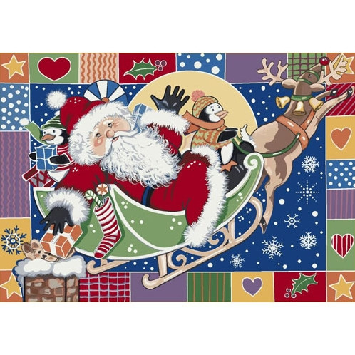 Milliken Holiday Area Rug - Patchwork Santa