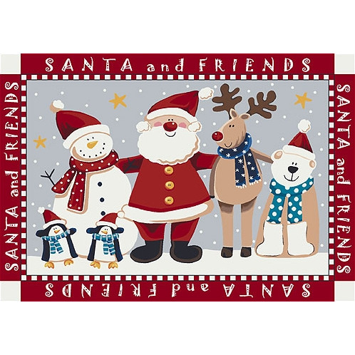 Milliken Holiday Area Rug - Santa and Friends
