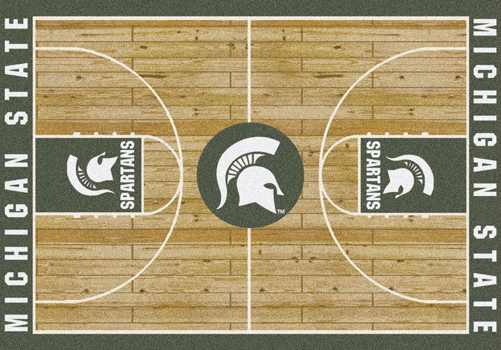 Michigan State Basketball Court Area Rug - MSU