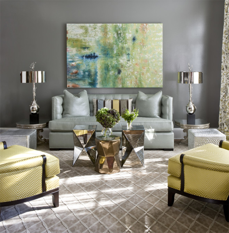 Metallic decor creates interest and shine while accenting natural light.