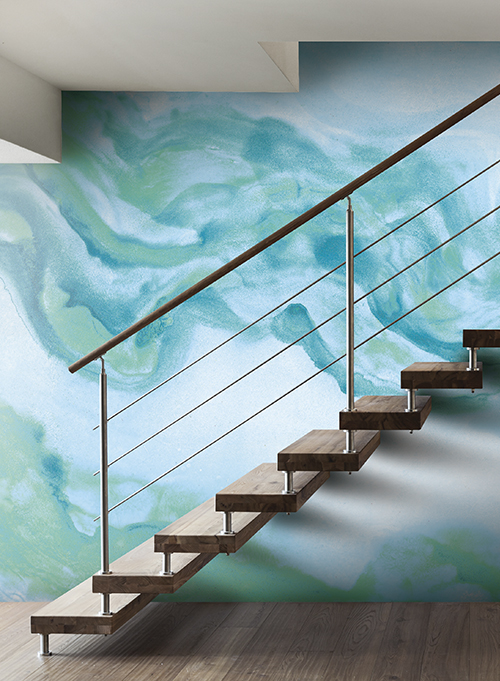 Fluid texture with blue hues for zen movement by York Wallpaper.