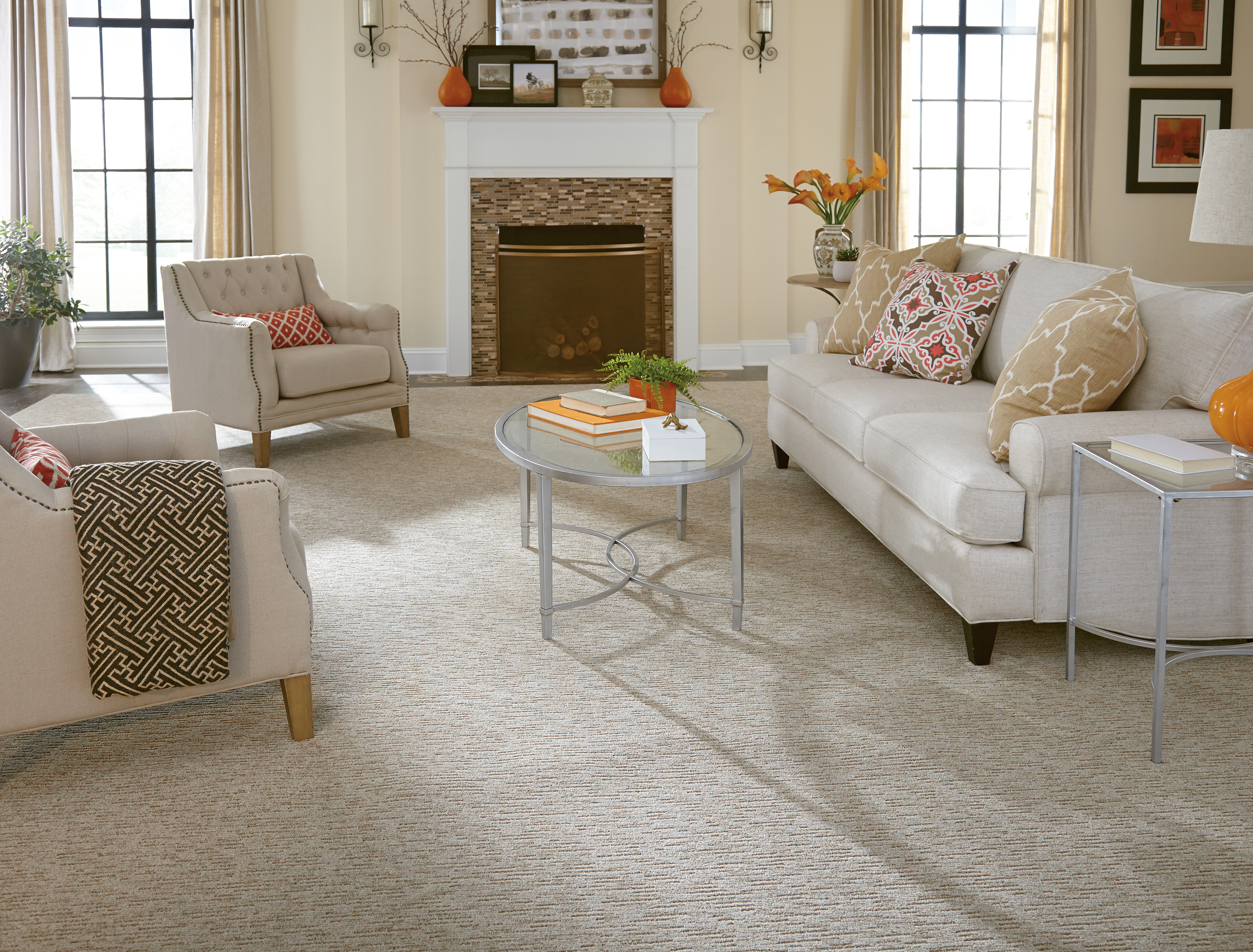 Get this beautiful Mohawk Smartstrand patterned carpet right now for over 50% off in the Remnant Room Clearance Center!