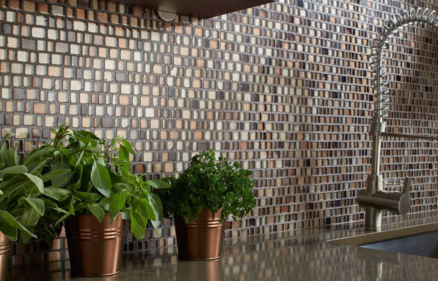 Shimmer Glass Mosaic Natural available at Custom Home Interiors!