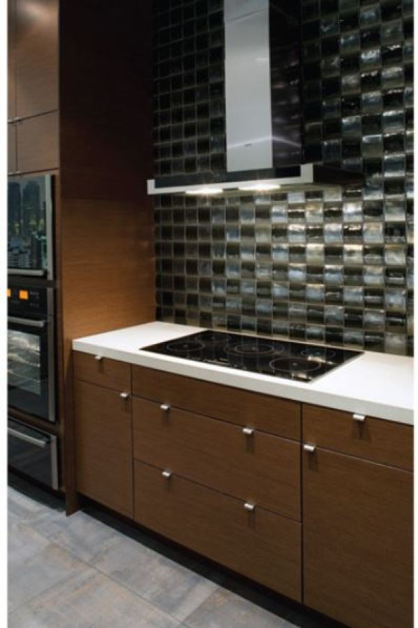 Black and White Backsplash Glass Squares with Iridescence at Custom Home Interiors