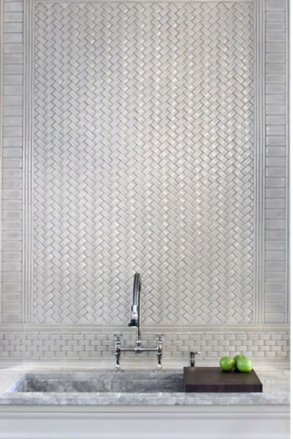 Sculpted Herringbone Subway Tiles at Custom Home Interiors