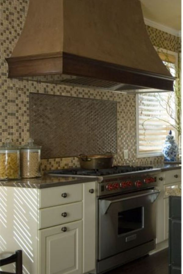 Brown and Tan Glass Mosaic with Metallic Accent  at Custom Home Interiors