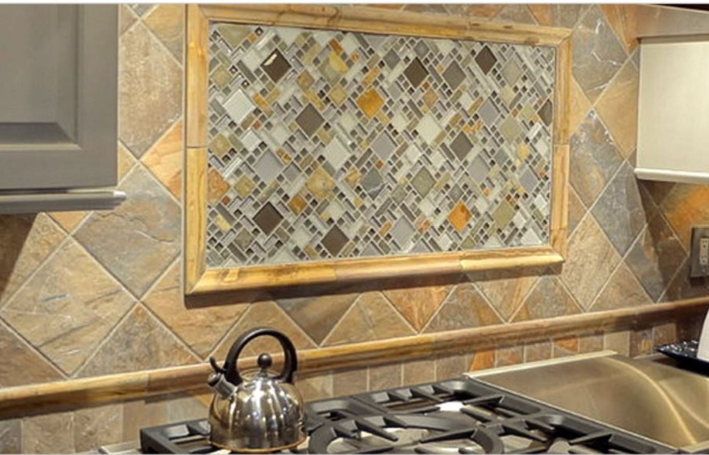 Glass and Slate Blend Mosaic available at Custom Home Interiors!
