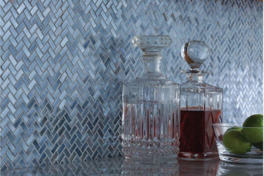 Where the River Flows Chevron Blue Glass Mosaic available at Custom Home Interiors!