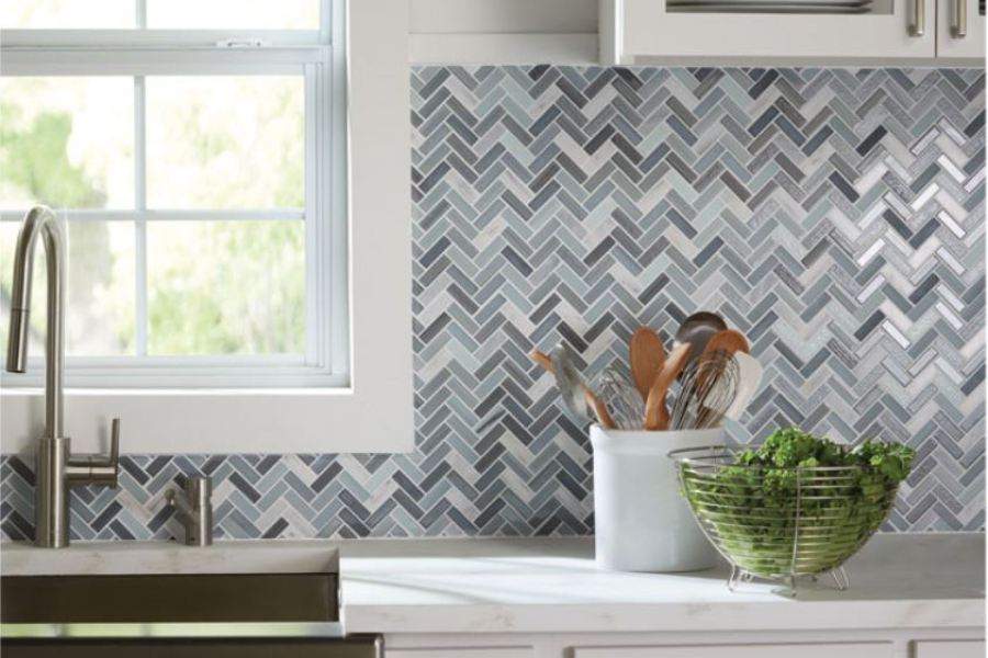 The Heavy Chevy Stony Denim Metallic Chevron Mosaic available at Custom Home Interiors!