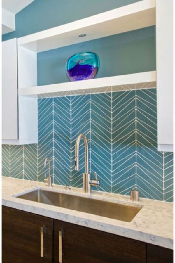 Stacked Arrow's Chevron Mosaic Glass at Custom Home Interiors