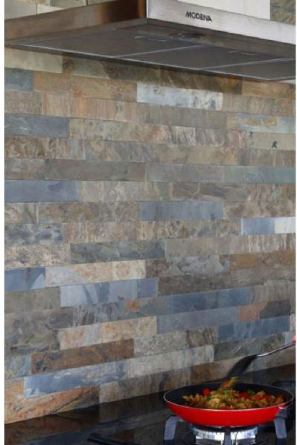 Earth Cut Natural Multicolored Slate Stone Subway Tiles at Custom Home Interiors