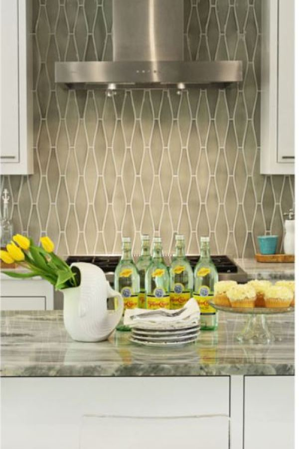 Waterfall Shifting Sands Mosaic Glass Tiles at Custom Home Interiors