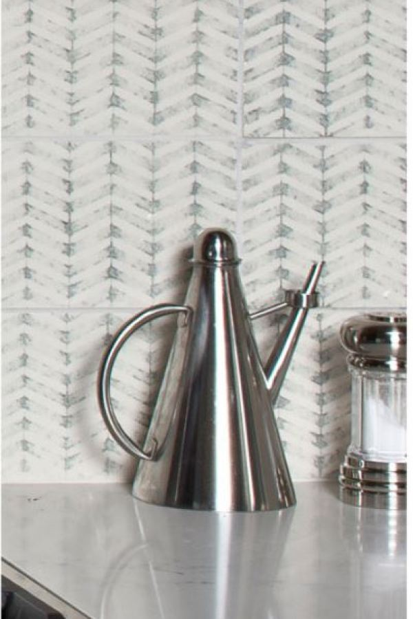 Rustic Stamped Clay Square Tiles with Chevron at Custom Home Interiors