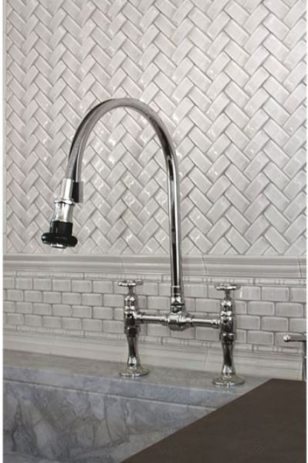 Sculpted Herringbone Subway Tiles with Liners  at Custom Home Interiors