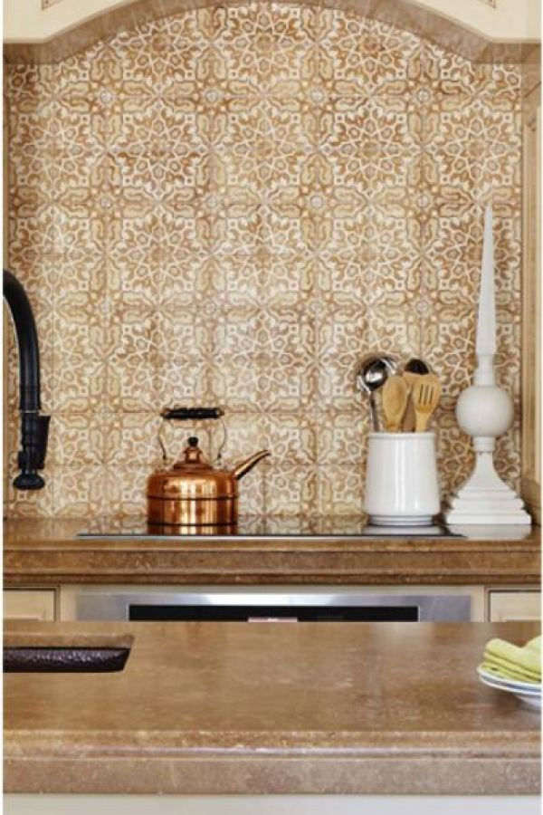 Hand Painted Clay Moroccan Nights Backsplash Tiles at Custom Home Interiors