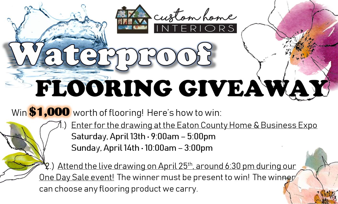 Waterproof Flooring Giveaway Flier