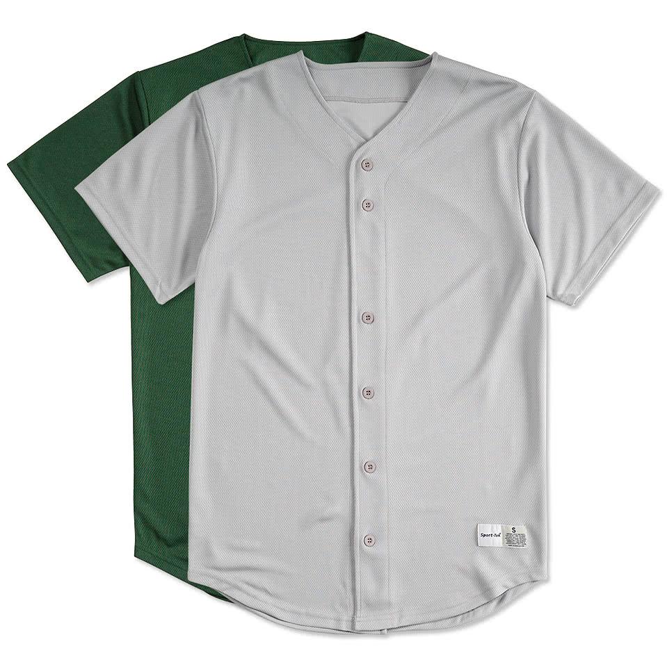 Custom Sport-Tek Tough Mesh Full Button Baseball Jersey ...