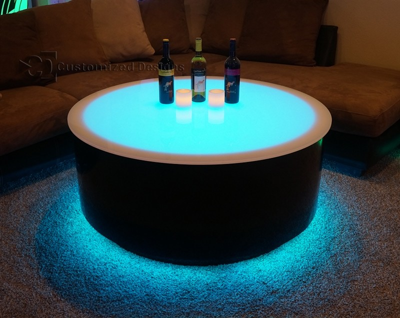 Round Cubix LED Lighted Table LED Furniture Nightclub
