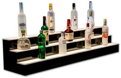 Bar Shelving for Home   Commercial Bars   LED Lighted Liquor Shelves 3 STEP BAR SHELVES