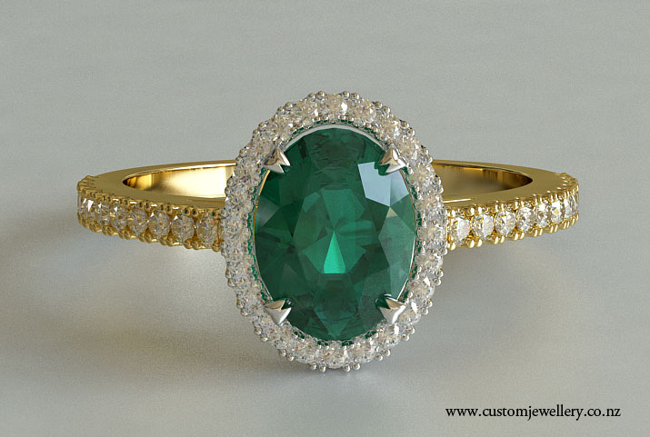 Yellow Gold Oval Cut Emerald Solitaire Engagement Ring